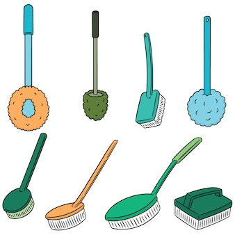 Vector set of toilet brush