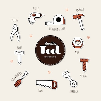 Vector set of tools icons. hand draw doodle vector..