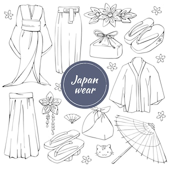 Vector set of traditional drawn japanese wear.