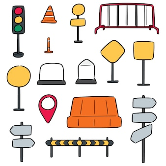 Vector set of traffic equipment