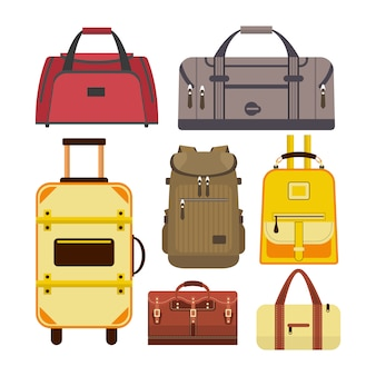 Vector set of travel bags. illustration with different types of luggage isolated