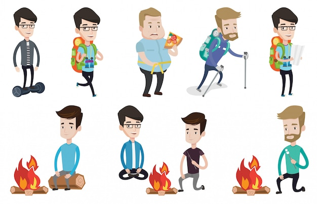 Vector set of traveling people.