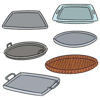 Vector set of tray