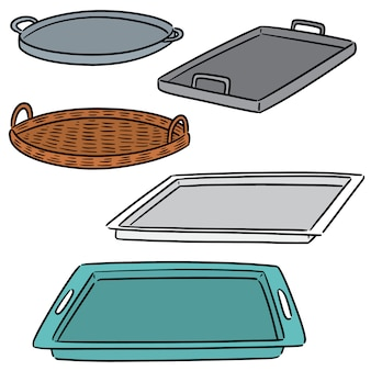 Vector set of tray