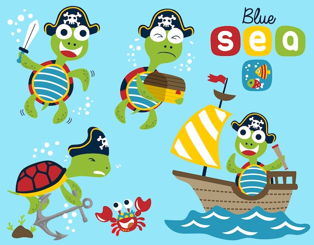 Vector set of turtle the funny pirate