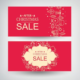 Vector set of two christmas sale banners with information about discounts after christmas and decorative gifts, traditional symbols