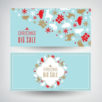 Vector set of two christmas sale banners with information about discounts on blue