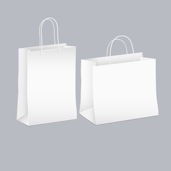Vector set of two white empty shopping paper bag