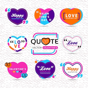 Vector set of valentines day creative quote text template with heart shaped colorful background