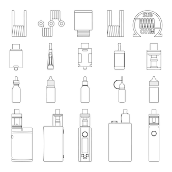 Vector set of vape accessories outline sketch icons. vaping illustration