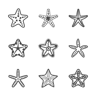 Vector set of various contour sea starfish