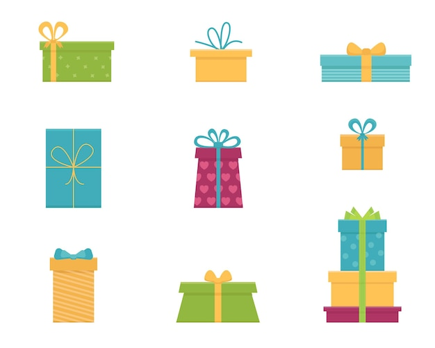 Vector set of various gift boxes. flat design.