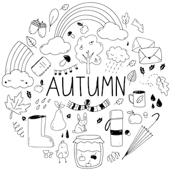 Vector set of various hand-drawn autumn elements for decorating crafts .