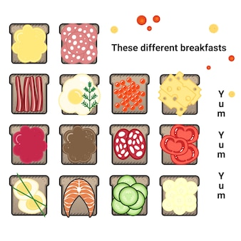 Vector set of various sandwiches. a varied breakfast