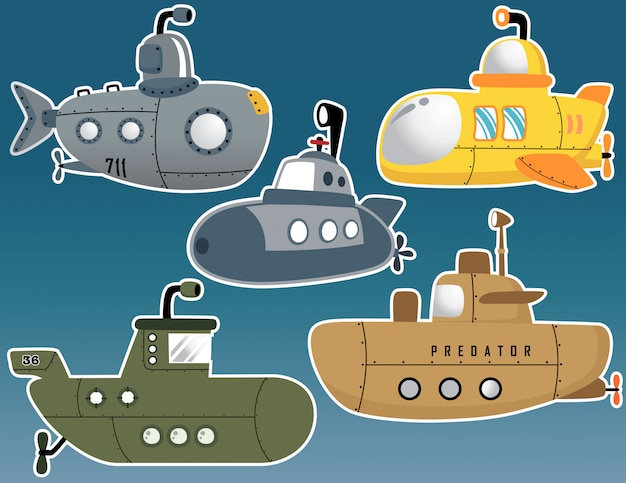 Vector set of various submarine cartoon