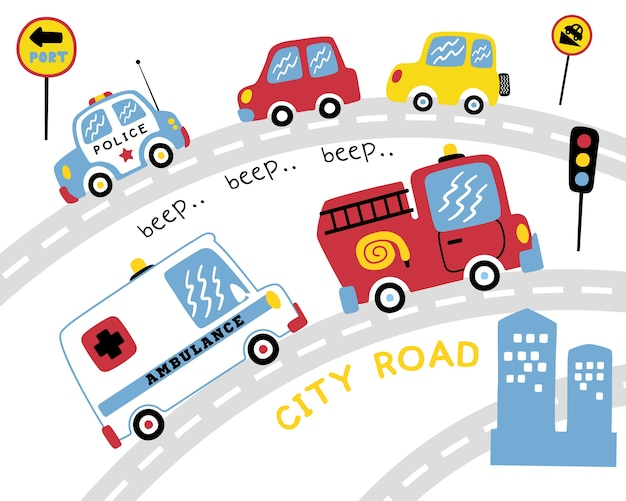 Vector set of various vehicles cartoon on the road