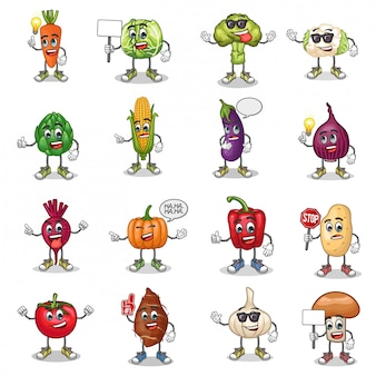 Vector set of vegetables cartoon mascot with emoticon