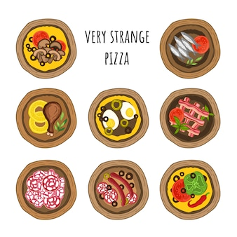 Vector set of very strange pizzas. hand-drawn style