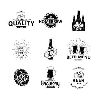 Vector set of vintage brewery hand drawn elements
