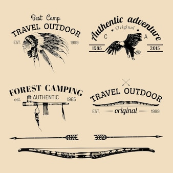 Vector set of vintage camping logo.