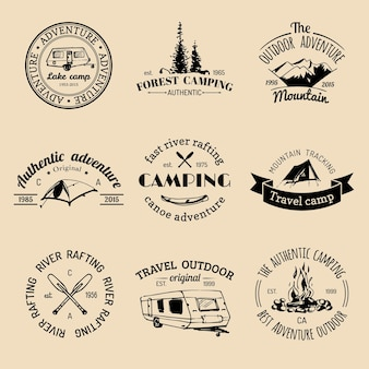 Vector set of vintage camping logos. retro signs collection of outdoor adventures. tourist sketches for emblems or badges.