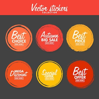Vector set of vintage colorful autumn labels for greetings and promotion. premium quality guarantee, bestseller, best choice, sale, special offer