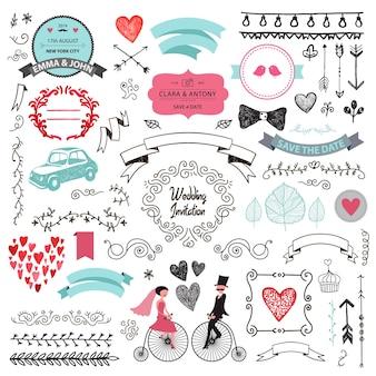 Vector set of vintage hand drawn wedding design elements ribbons  invitation decorative elements