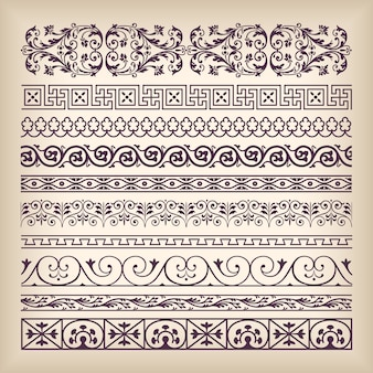 Vector set vintage ornate border frame