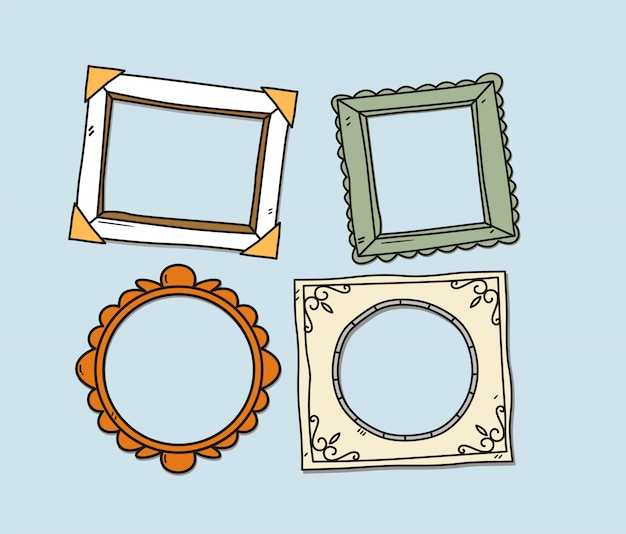 Vector set of vintage photo frames