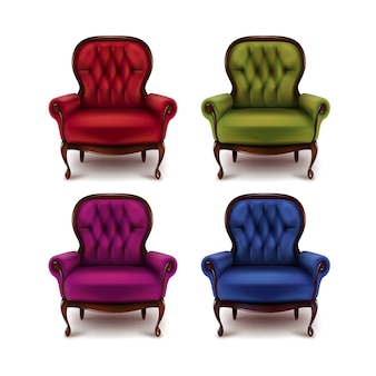 Vector set of vintage red, green, violet, purple, blue armchairs isolated on white background