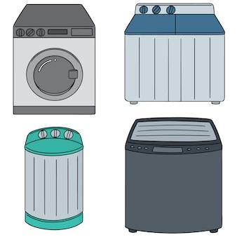 Vector set of washing machine