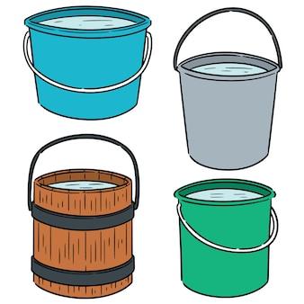 Vector set of water buckets