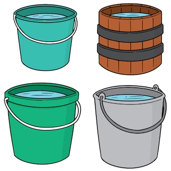 Vector set of water buckets