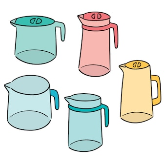 Vector set of water pitcher