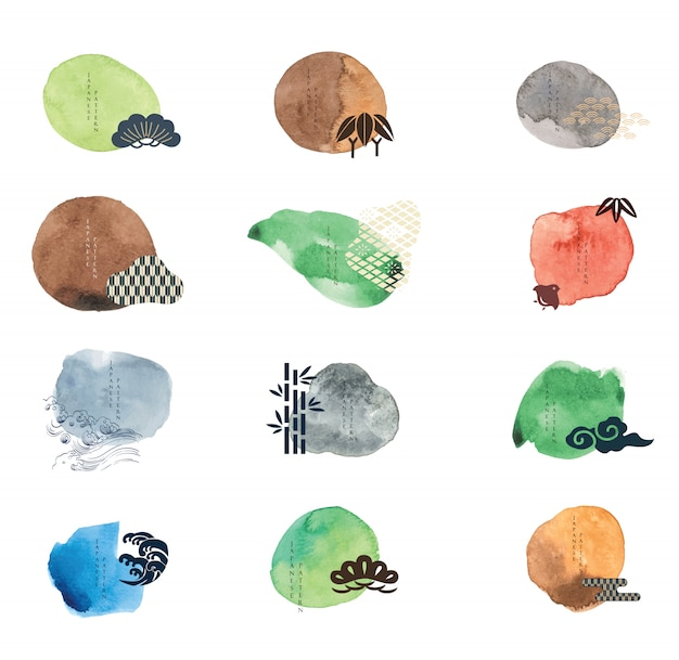 Vector set of watercolor painting brush in japanese style.