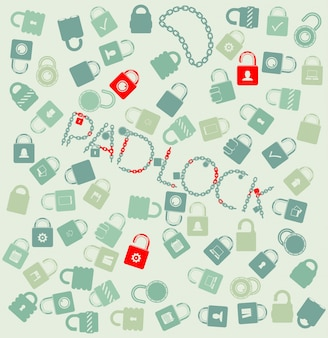 Vector set di icone web. pudlock e catena senza soluzione di continuità