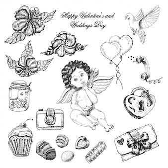 Vector set of  wedding day collection