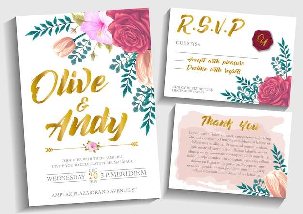 Vector set wedding invitation card with flowers background template