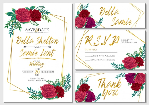 Vector set wedding invitation card with roses and gold background template