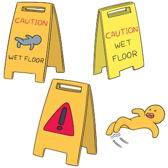 Vector set of wet floor sign