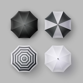 Vector set of white black striped blank classic opened round rain umbrella parasol