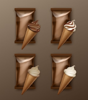 Vector set of white classic and chocolate soft serve ice cream waffle cone