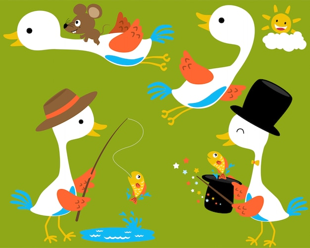 Vector set of white crane cartoon