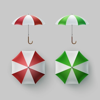 Vector set of white green red white striped blank classic opened round rain umbrella