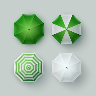 Vector set of white green striped blank classic opened round rain umbrella parasol