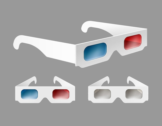 Vector set of white paper 3d glasses in perspective close up isolated on gray background