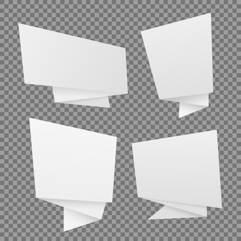 Vector set of white paper origami speech bubbles