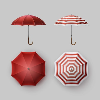 Vector set of white red striped blank classic opened round rain umbrella