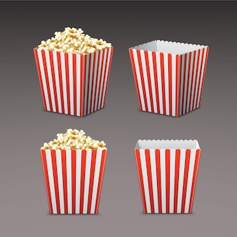 Vector set of white and red striped paper popcorn bag in perspective, front view isolated on gray background