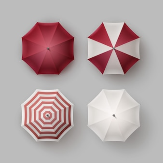 Vector set of white red vinous striped blank classic opened round rain umbrella parasol